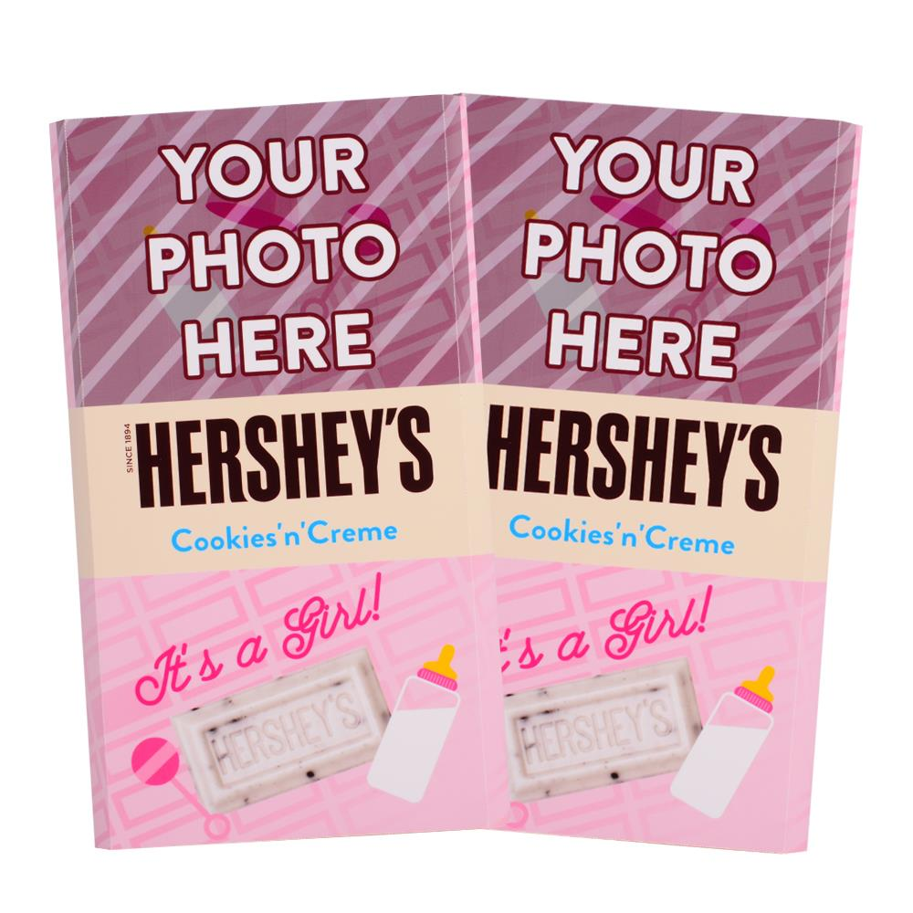 Baby Announcement Pink Design<br>Personalized HERSHEY'S Giant Cookies 'n' Creme Candy Bar<br>(2 pack)