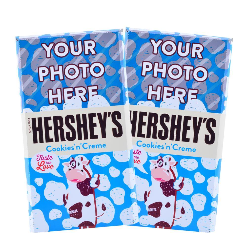 Fresh Milk Chocolate Cow Design<br>Personalized HERSHEY'S Giant Cookies 'n' Creme Candy Bar<br>(2 pack)