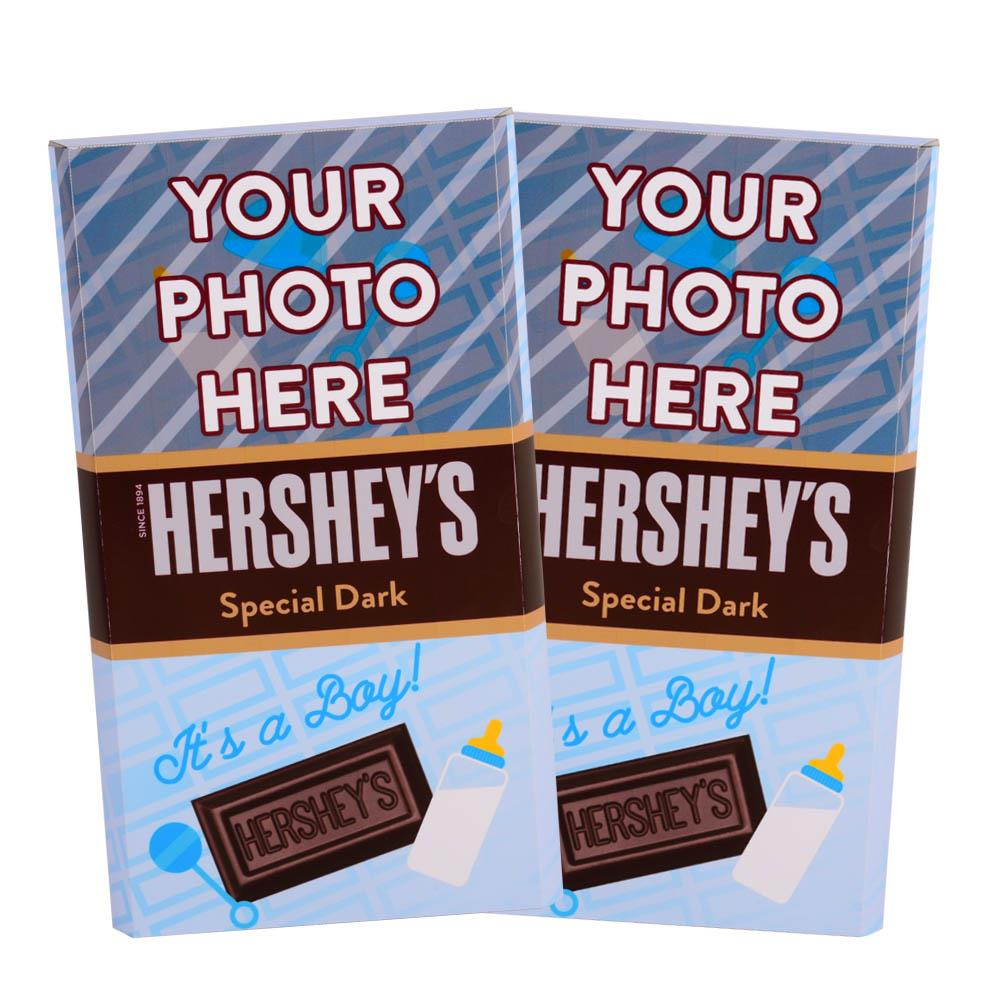 Baby Announcement Blue Design<br>Personalized HERSHEY'S Giant Special Dark Candy Bar<br>(2 pack)