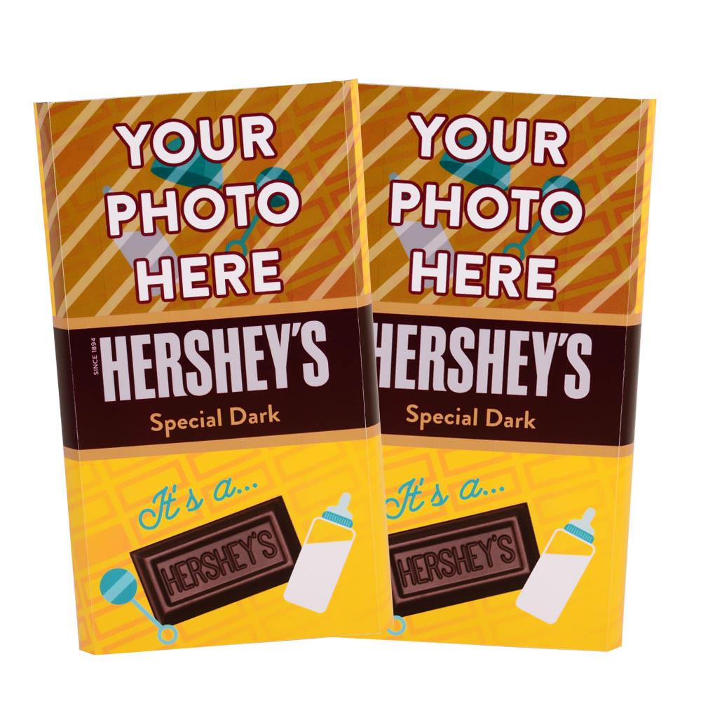 Baby Announcement Yellow Design<br>Personalized HERSHEY'S Giant Special Dark Candy Bar<br>(2 pack)
