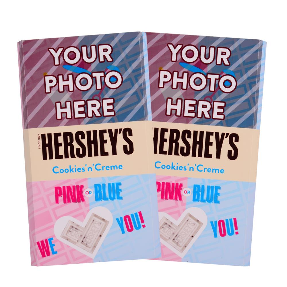 Baby Gender Reveal Design<br>Personalized HERSHEY'S Giant Cookies 'n' Creme Candy Bar<br>(2 pack)