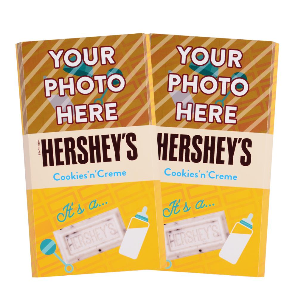 Baby Announcement Yellow Design<br>Personalized HERSHEY'S Giant Cookies 'n' Creme Candy Bar<br>(2 pack)