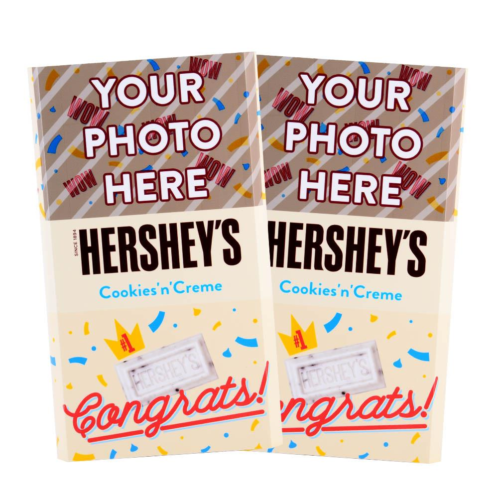 Congrats Confetti Design<br>Personalized HERSHEY'S Giant Cookies 'n' Creme Candy Bar<br>(2 pack)
