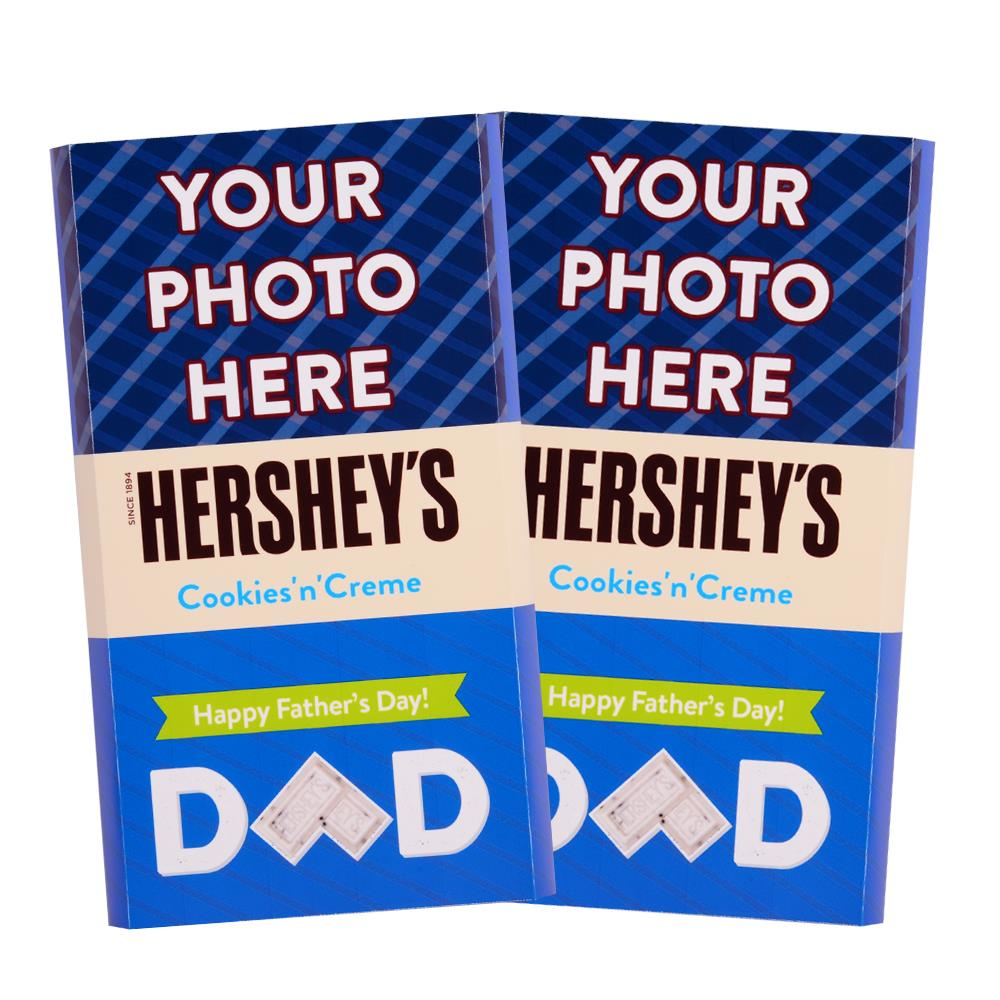 Father's Day Stripes Design<br>Personalized HERSHEY'S Giant Cookies 'n' Creme Candy Bar<br>(2 pack)