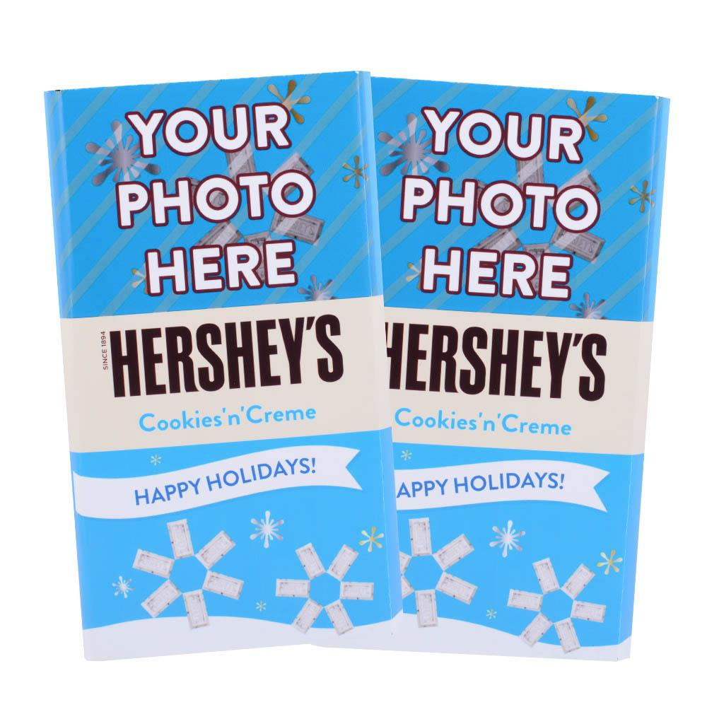 Happy Holidays Blue Design<br>Personalized HERSHEY'S Giant Cookies 'n' Creme Candy Bar<br>(2 pack)