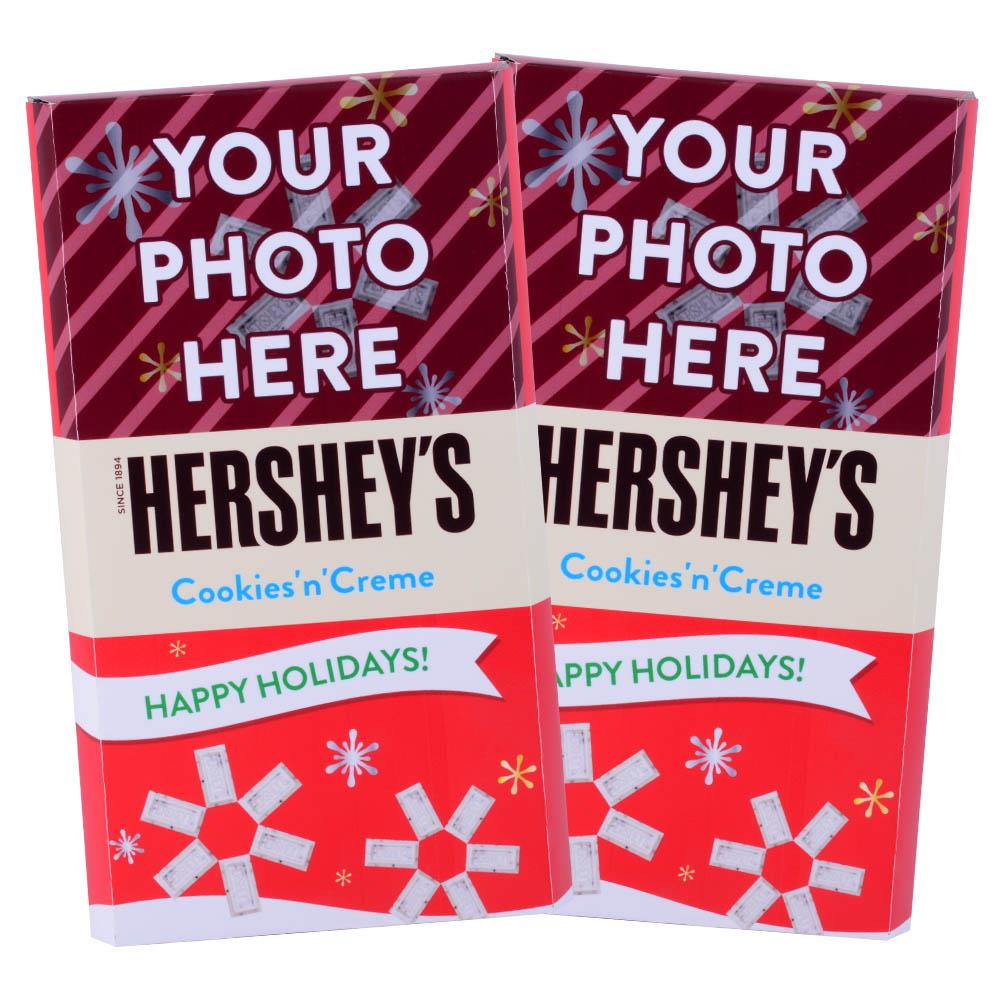 Red Happy Holidays Design<br>Personalized HERSHEY'S Giant Cookies 'n' Creme Candy Bar<br>(2 pack)