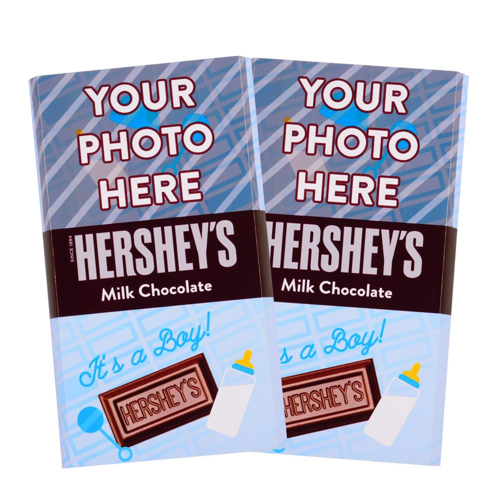 Baby Announcement Blue Design<br>Personalized HERSHEY'S Giant Milk Chocolate Bar<br>(2 pack)