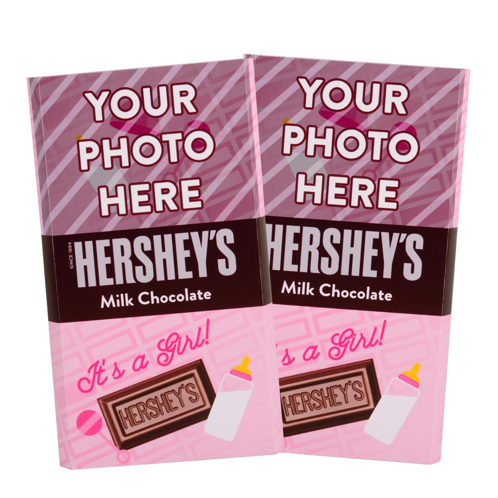 Baby Announcement Pink Design<br>Personalized HERSHEY'S Giant Milk Chocolate Bar<br>(2 pack)