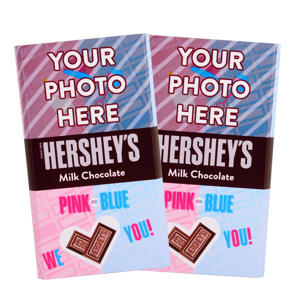 Baby Gender Reveal Design<br>Personalized HERSHEY'S Giant Milk Chocolate Bar<br>(2 pack)