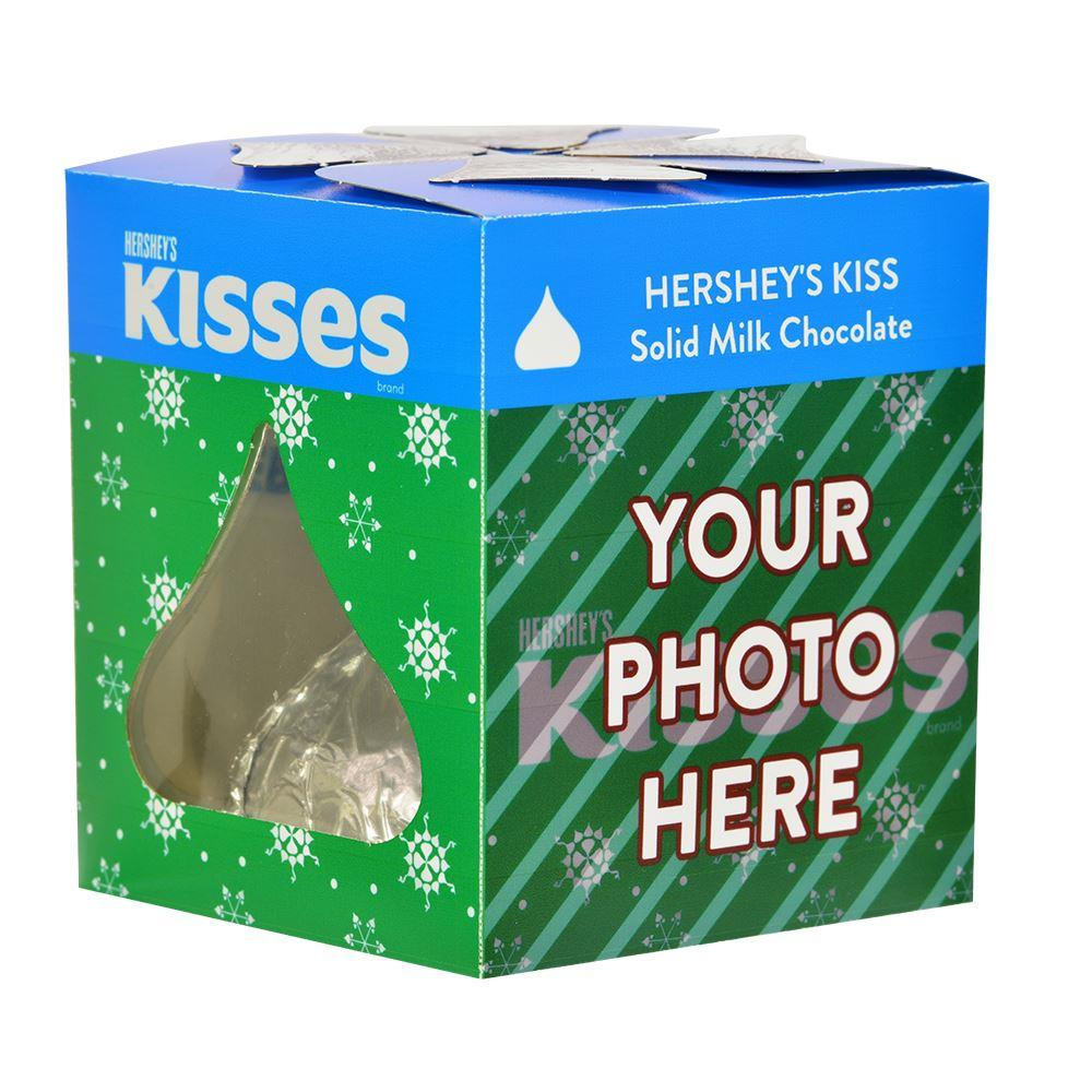 Green Snowflake KISSES Design<br>Personalized 7 oz. KISSES Milk Chocolate Candy