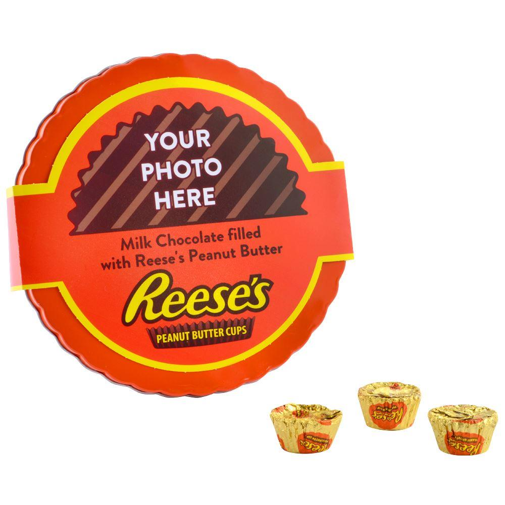 Personalized REESE'S Gift Tin Filled with Peanut Butter Cups Miniatures<br>(1 lb)