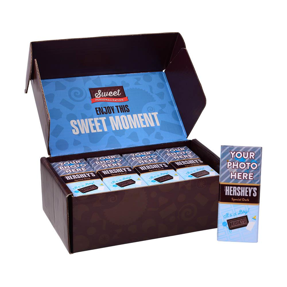 Baby Announcement Blue Design<br>Personalized HERSHEY'S 1.45oz Special Dark Candy Bar<br>(36 pack)