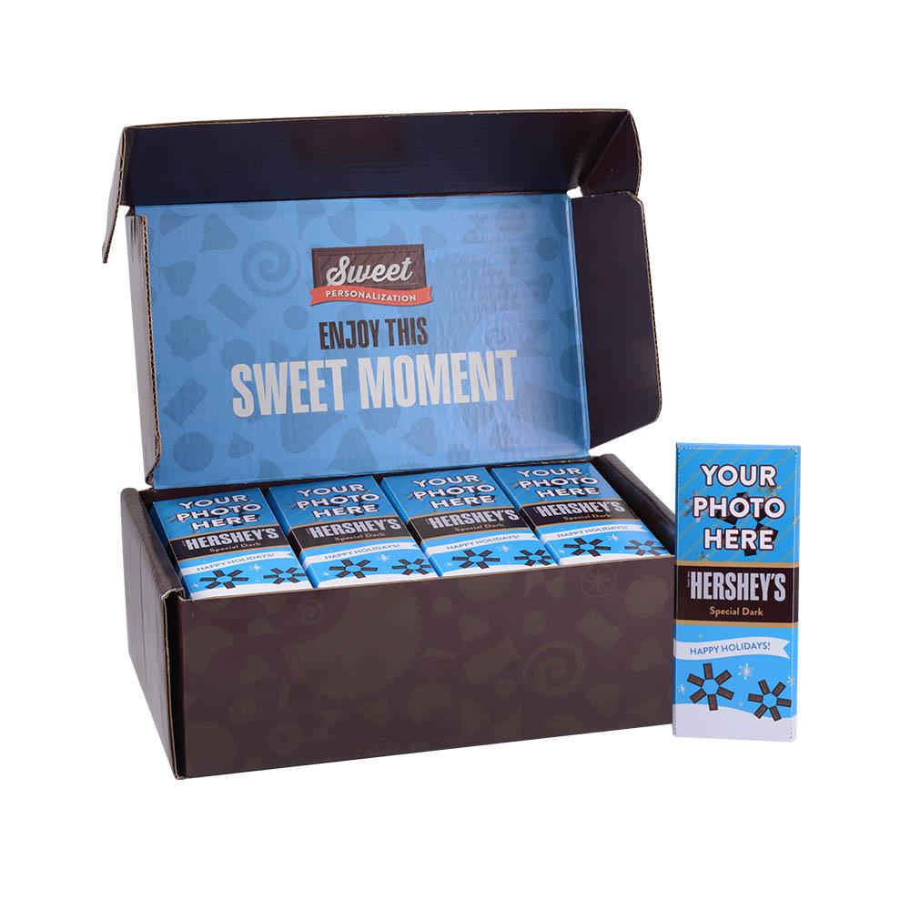Happy Holidays Blue Design<br>Personalized HERSHEY'S 1.45oz Special Dark Candy Bar<br>(36 pack)