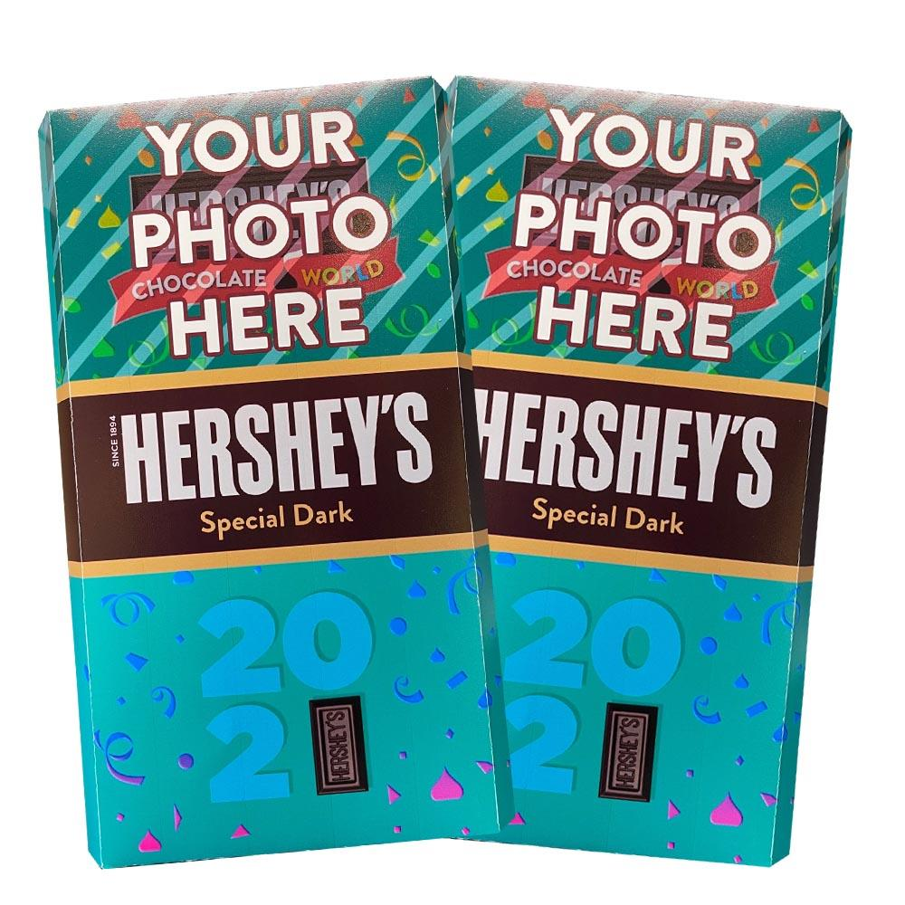 New Years 2021 Design<br>Personalized HERSHEY'S Giant Special Dark Candy Bar<br>(2 pack)
