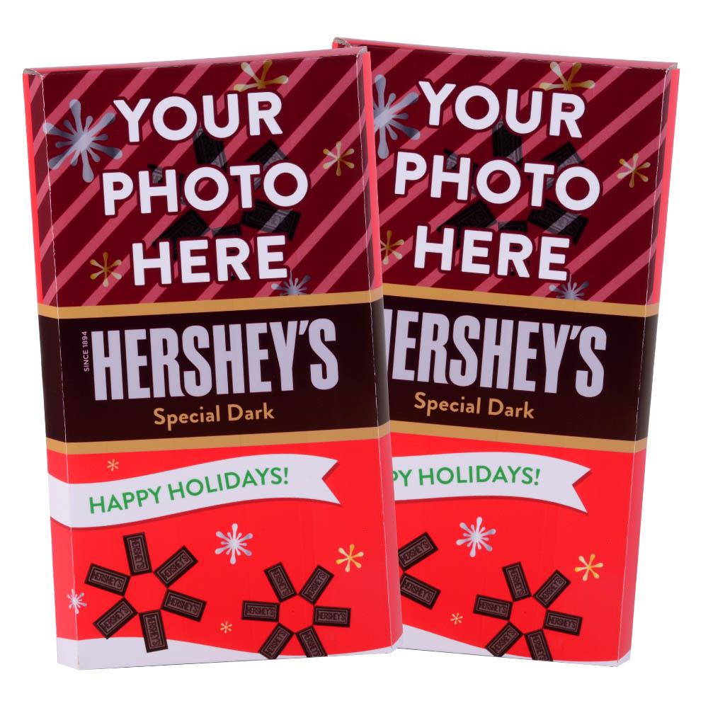 Happy Holidays Red  Design<br>Personalized HERSHEY'S Giant Special Dark Candy Bar<br>(2 pack)